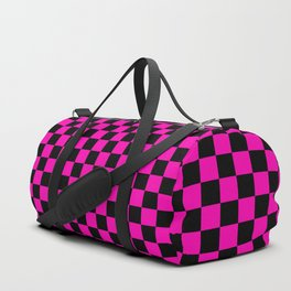 Large Hot Neon Pink and Black Racing Car Check Duffle Bag