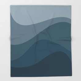 Abstract Color Waves - Blue Palette Throw Blanket