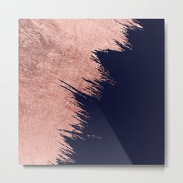 Navy blue abstract faux rose gold brushstrokes Metal Print