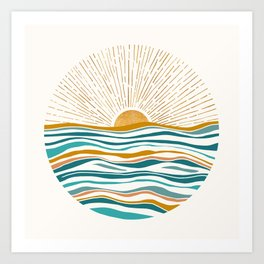 The Sun and The Sea - Gold and Teal Art Print