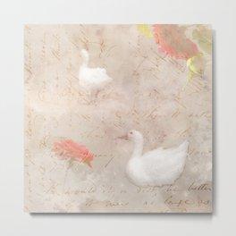 Geese, clouds, roses, vintage calligraphy Metal Print