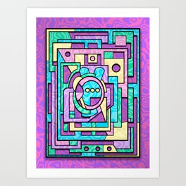 Rabbot Hutch - Brightly Colored Geometric Abstract Art Print