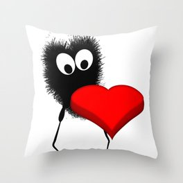 Alien and red heart Throw Pillow