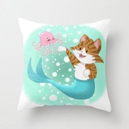 Bubbly Purrmaid Throw Pillow