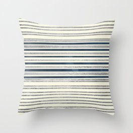 Modern geometric silver ivory navy blue pattern Throw Pillow