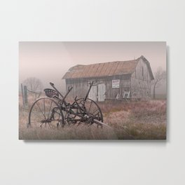 Barn for Sale in the Fog Metal Print