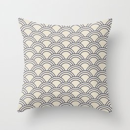Cream & Blue Japanese Seigaiha Wave Throw Pillow