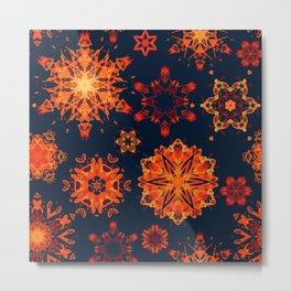 warm watercolor snowflakes Metal Print