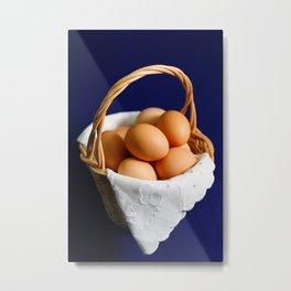 Eggs in a basket Metal Print
