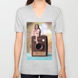 Smile for the Camera - vintage Kodak Brownie camera with miniature girl. Unisex V-Neck