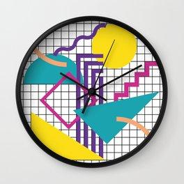 Memphis Pattern - 80s Retro White Wall Clock