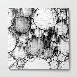 Glitch Black & White Circle abstract Metal Print