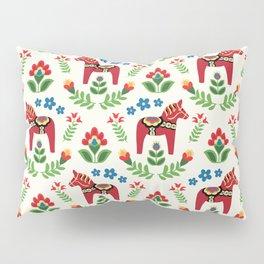 Swedish Dala Horses Red Pillow Sham
