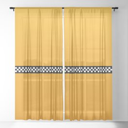 NY Taxi Cab Yellow with Black and White Check Band Sheer Curtain