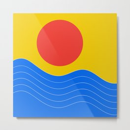 Sunset over Blue Water Metal Print