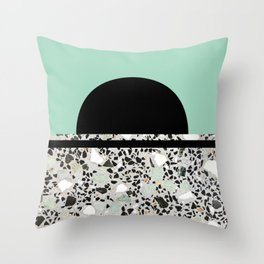Abstract Concrete and Marble Terrazzo Stone Pastel Green Throw Pillow