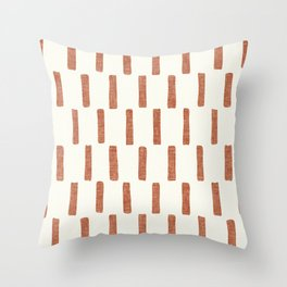 block print dash - terra cotta Throw Pillow