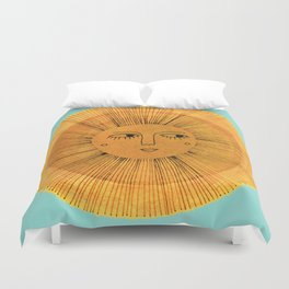 Sun Drawing Gold and Blue Duvet Cover