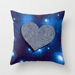 bubble heart blue Throw Pillow