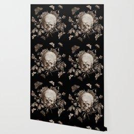 BLACK GOTHIC FLORAL SKULL Illustration Wallpaper