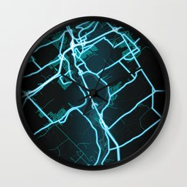 Levis, QC, Canada, Blue, White, Neon, Glow, City, Map Wall Clock