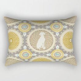 BLUE WEIMARANER & AMBER MEDALLIONS Rectangular Pillow