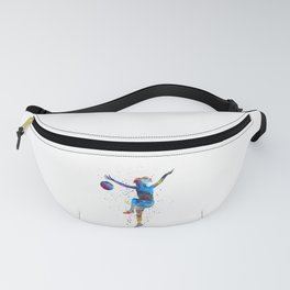 Woman soccer player 12 in watercolor Fanny Pack