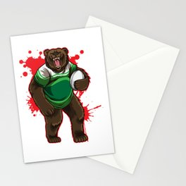 Strong Rugby Bear Stationery Cards