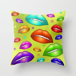 Kiss, female lips and teeth. Multi-colored lipstick on the lips volume with white teeth on a gold ba Throw Pillow