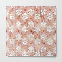 Rose Gold Art Deco Butterfly Pattern Metal Print