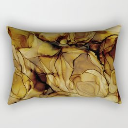 Brown Teakwood:  Original Abstract Alcohol Ink Painting Rectangular Pillow