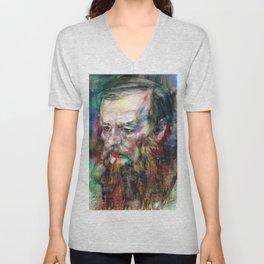 FYODOR DOSTOYEVSKY - watercolor portrait.3 Unisex V-Neck