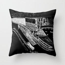 Panama Canal - White on Black Throw Pillow