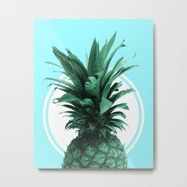 Pineapple Print - Tropical Wall Art - Botanical Print - Pineapple Poster - Blue - Minimal, Modern Metal Print