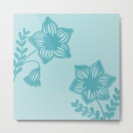 Floral silhouette blue  Metal Print