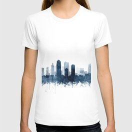 Kansas City Skyline Blue Watercolor by Zouzounio Art T-shirt