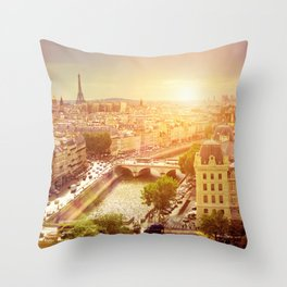 Paris with Eiffel Tower, France Throw Pillow