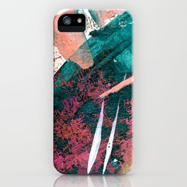 Laughter: a vibrant, colorful, minimal abstract piece in teal, pink, gold, and white iPhone Case