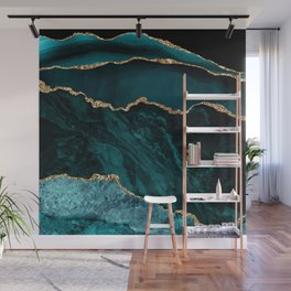 Teal Blue Emerald Marble Landscapes Wall Mural