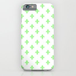 Fleur-de-Lis (Light Green & White Pattern) iPhone Case