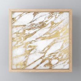 Chic Elegant White and Gold Marble Pattern Framed Mini Art Print