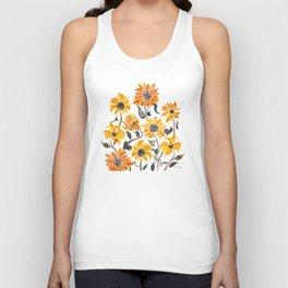 Sunflower Watercolor – Yellow & Black Palette Unisex Tank Top