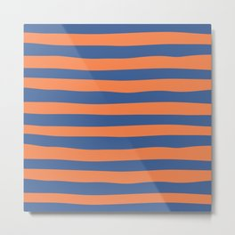 Blue Orange Stripes_Uneven Metal Print