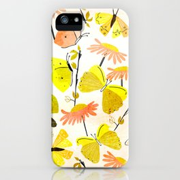 Yellow Butterflies and flowers iPhone Case