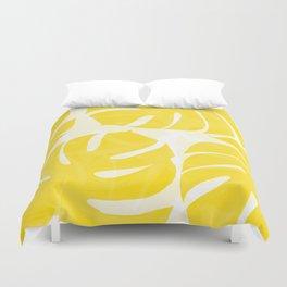 Mellow Yellow Monstera Leaves White Background #decor #society6 #buyart Duvet Cover