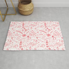 Doodle Christmas pattern red Rug