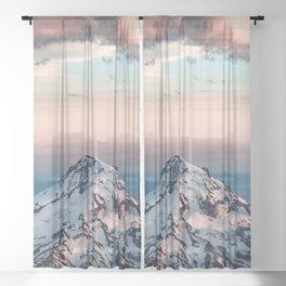 Mountain Sunset - Nature Photography Sheer Curtain