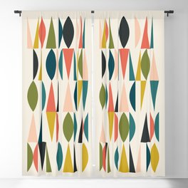 Mid Century Modern Abstract Colorful Shapes Funky Cool Minimalist Pattern Blackout Curtain