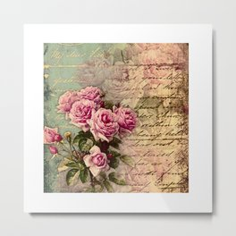 French country chic, rustic, collage, roses,vintage parchment,victorian,belle époque Metal Print