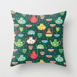 Tea pattern Throw Pillow